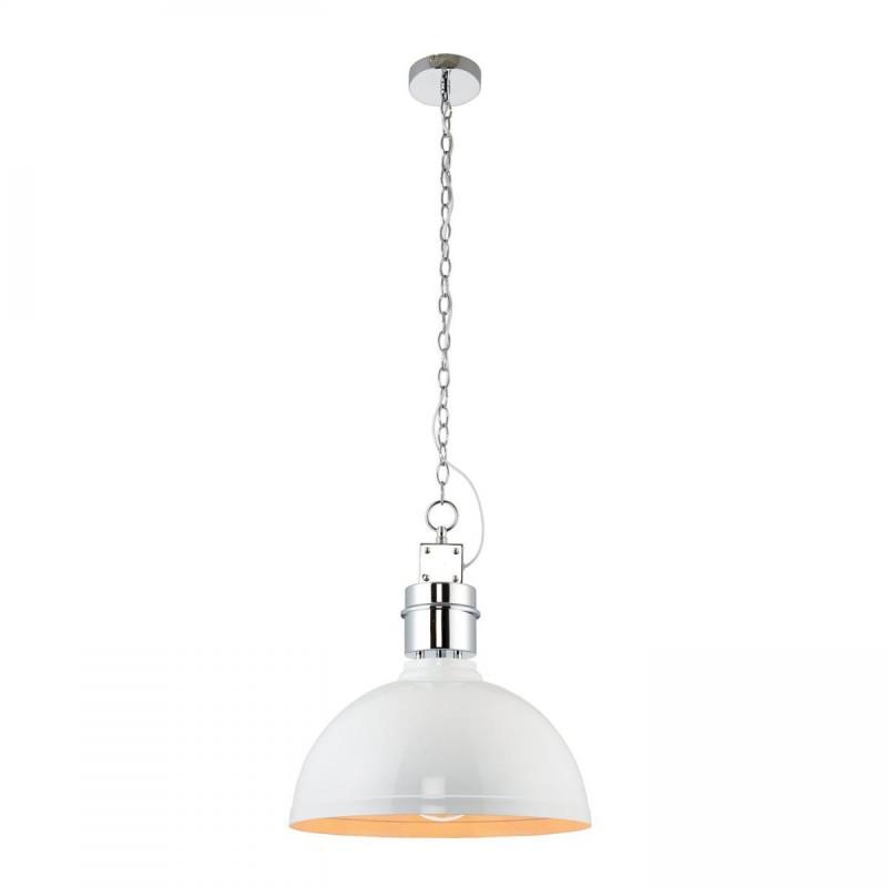 Endon-67556 - Collingham - Gloss White with Chrome Single Pendant