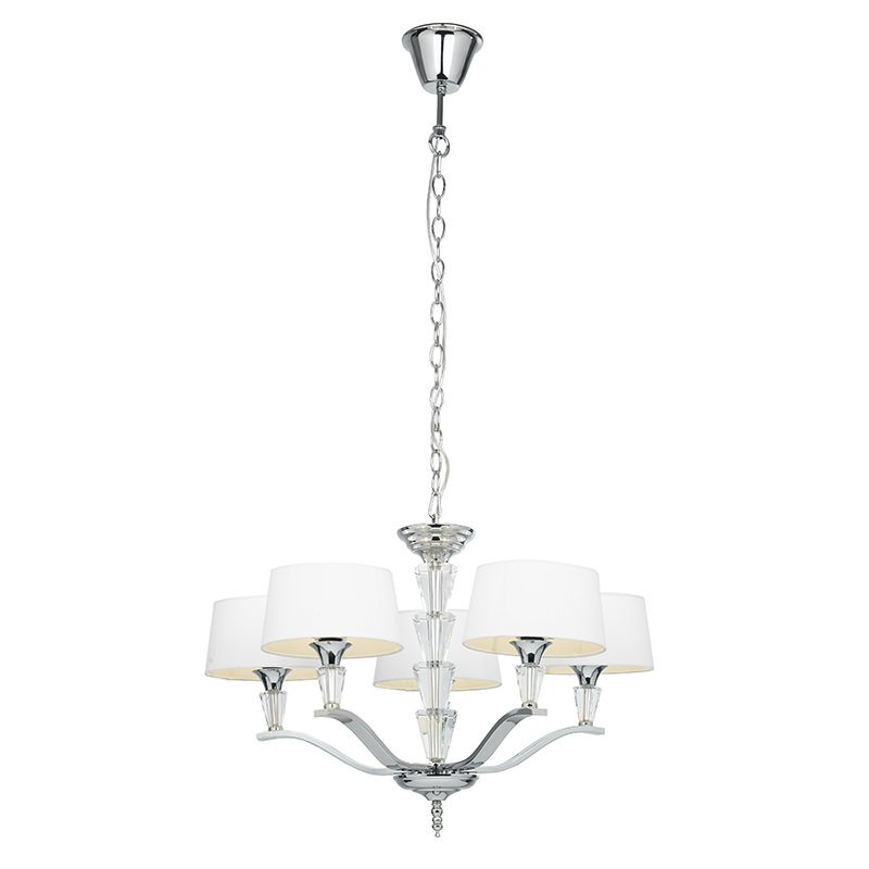 Endon-FIENNES-5NI - Fiennes - Vintage White with Chrome 5 Light Centre Fitting