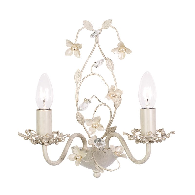 Endon-LULLABY-2WBCR - Lullaby - Cream Brushed Gold & Pearl Twin Wall Lamp