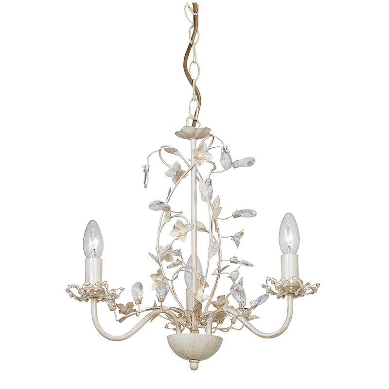 Endon-LULLABY-3CR - Lullaby - Cream Brushed Gold & Pearl 3 Light Centre Fitting
