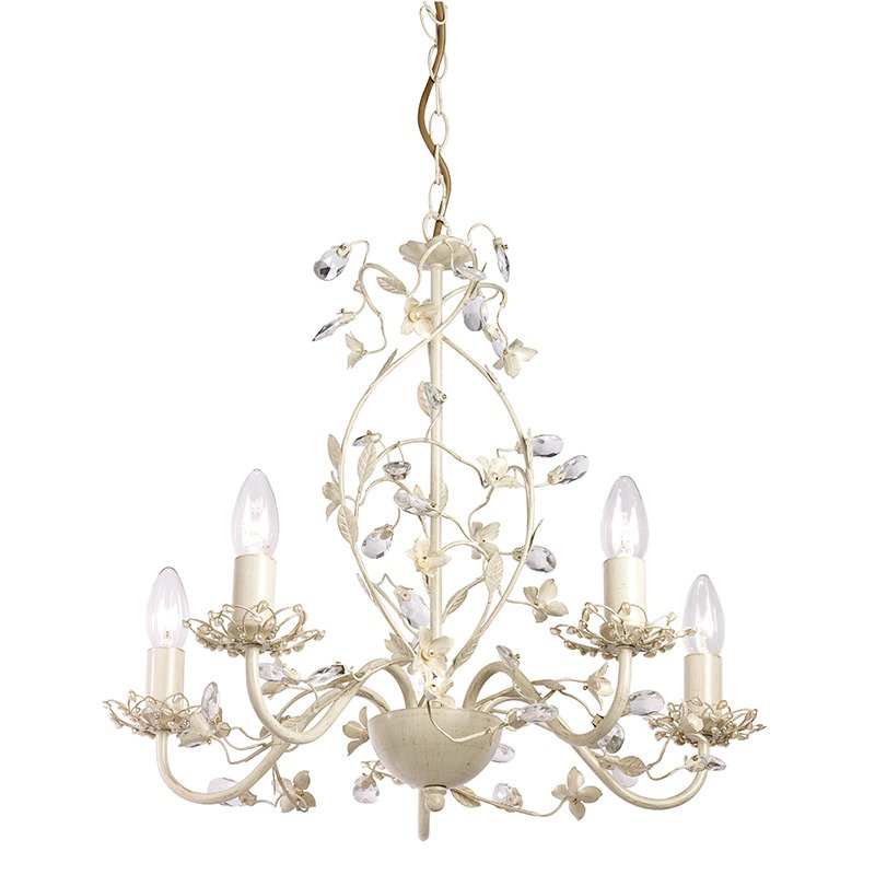 Endon-LULLABY-5CR - Lullaby - Cream Brushed Gold & Pearl 5 Light Centre Fitting