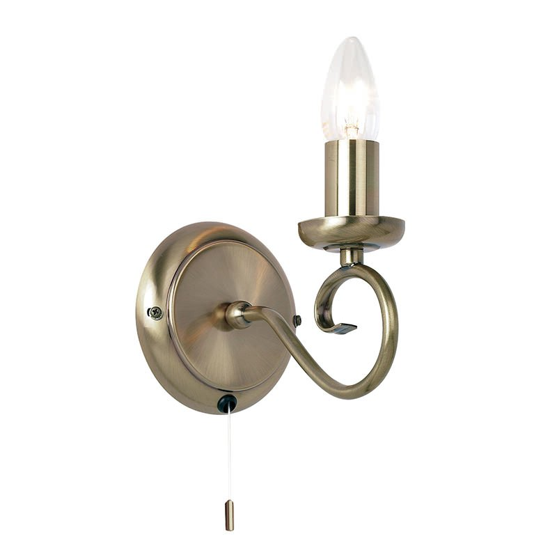 Endon-180-1AN - Trafford - Antique Brass Single Wall Lamp