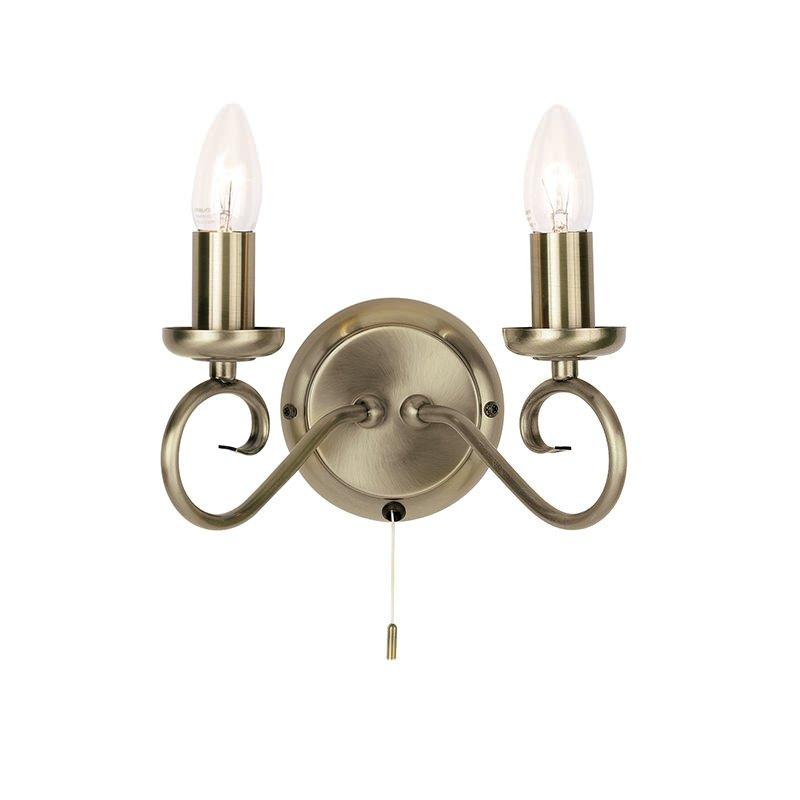 Endon-180-2AN - Trafford - Antique Brass 2 Light Wall Lamp