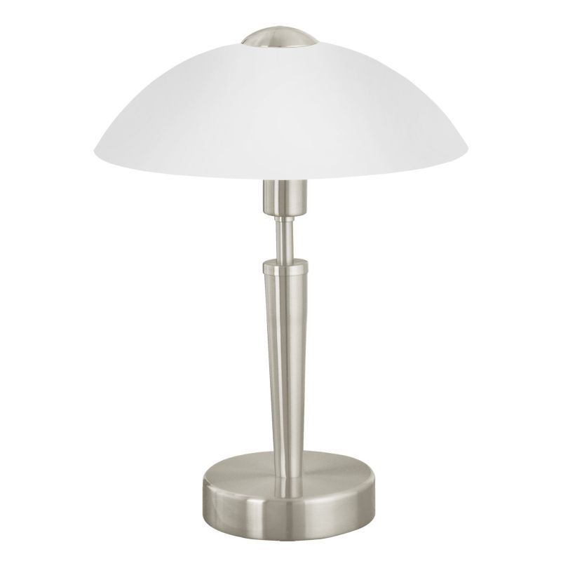 Eglo-85104 - Solo 1 - White Glass with Satin Nickel Touch Table Lamp