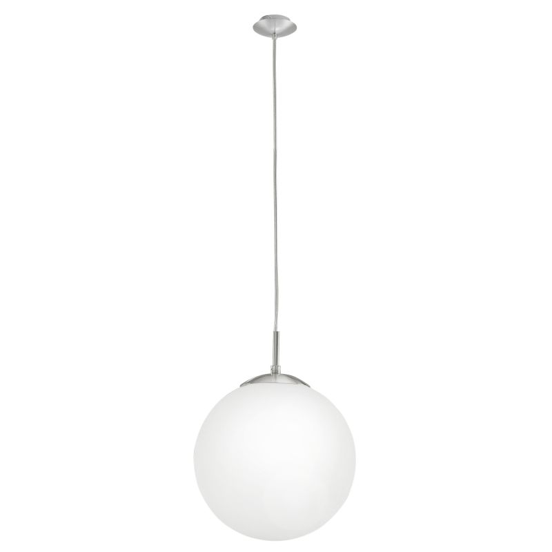 Eglo-85262 - Rondo - White Globe with Satin Nickel Pendant - Ø25
