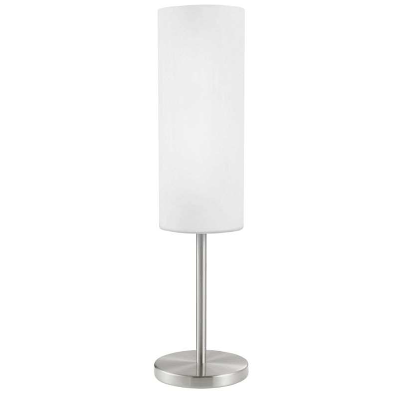 Eglo-85981 - Troy 3 - Satin Nickel with White Glass Table Lamp