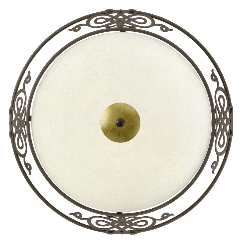 Eglo-86712 - Mestre - Antique Brown with Beige Glass Medium Ceiling Lamp