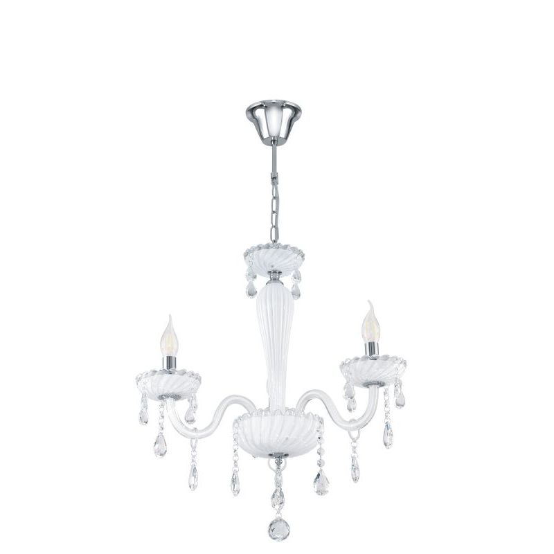 Eglo-39112 - Carpento - White and Transparent Crystal 3 Light Chandelier