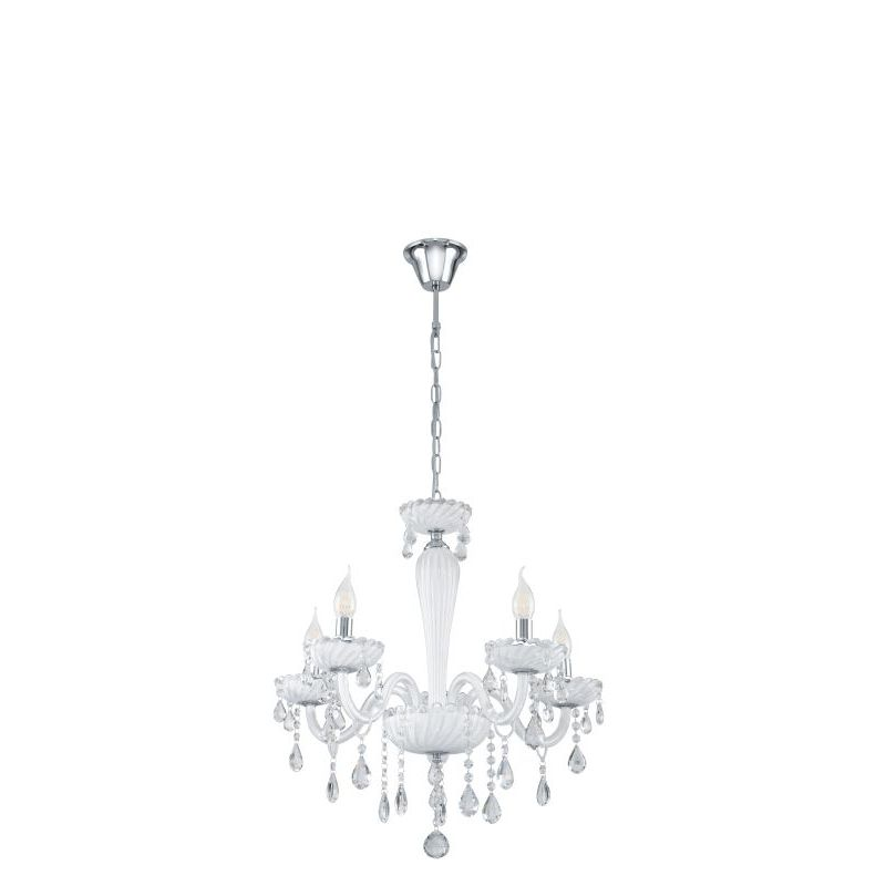 Eglo-39113 - Carpento - White and Transparent Crystal 5 Light Chandelier