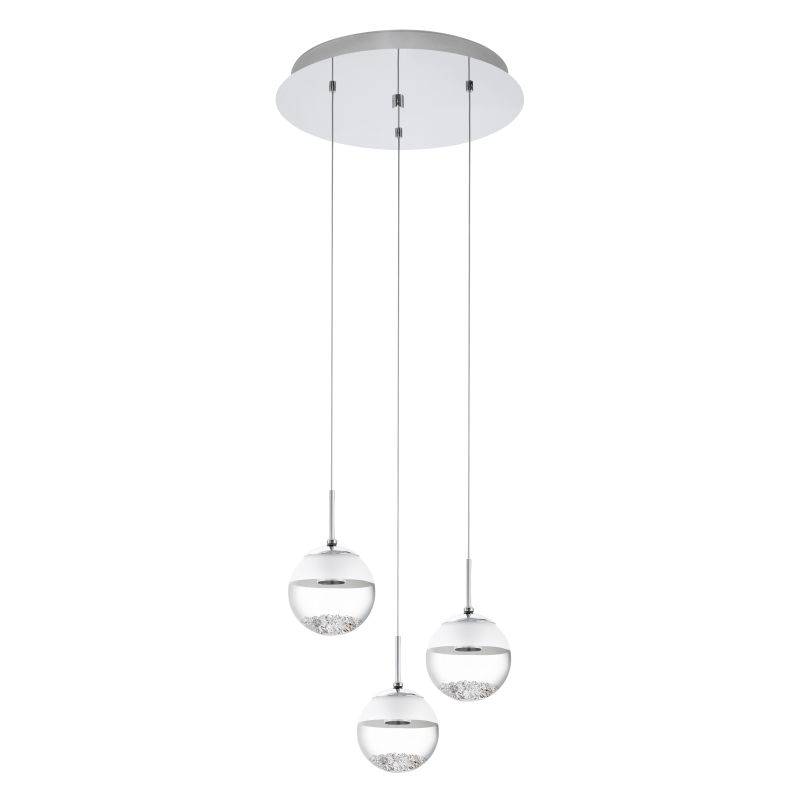 Eglo-93709 - Montefio - LED Glass with Crystal Globe 3 Light Cluster Pendant