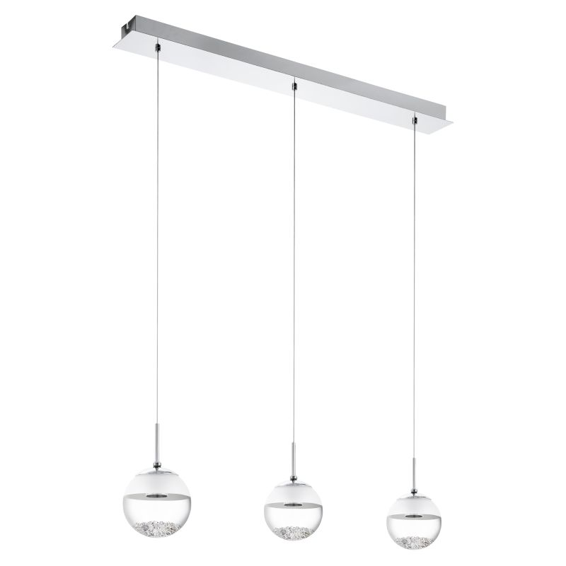 Eglo-93784 - Montefio - LED Glass with Crystal Globe 3 Light over Island Fitting