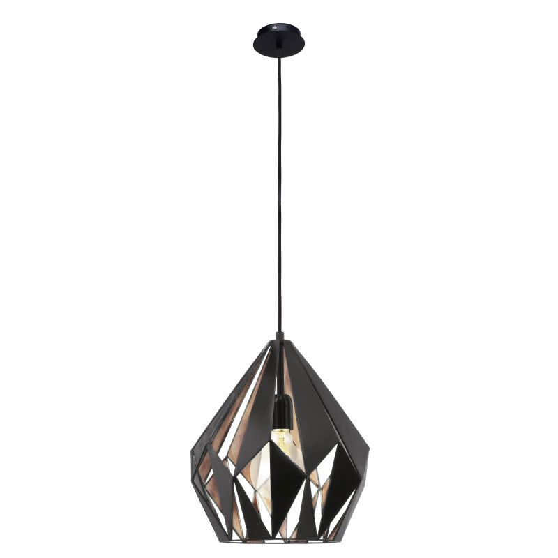 Eglo-49254 - Carlton 1 - Vintage Black & Copper Single Medium Pendant