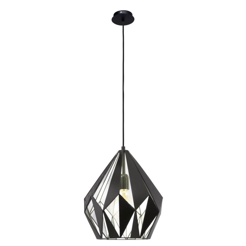 Eglo-49255 - Carlton 1 - Vintage Black & Silver Single Medium Pendant
