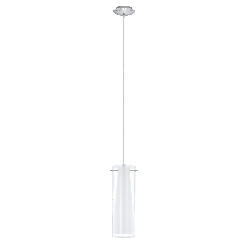 Eglo-89832 - Pinto - Clear & White Glass with Chrome Single Pendant