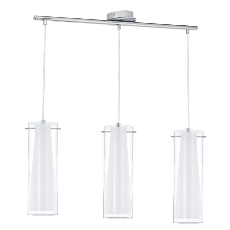 Eglo-89833 - Pinto - Clear & White Glass with Chrome 3 Light over Island Fitting