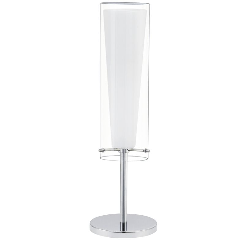 Eglo-89835 - Pinto - Clear & White Glass with Chrome Table Lamp
