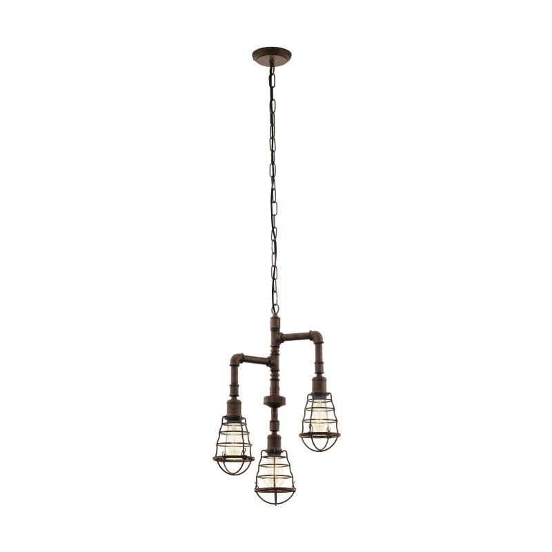 Eglo-49808 - Port Seton - Vintage Antique Brown 3 Lights Pipe Pendant