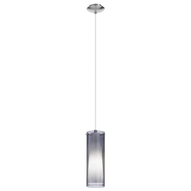 Eglo-90304 - Pinto Nero - Smoky & White Glass with Chrome Single Pendant