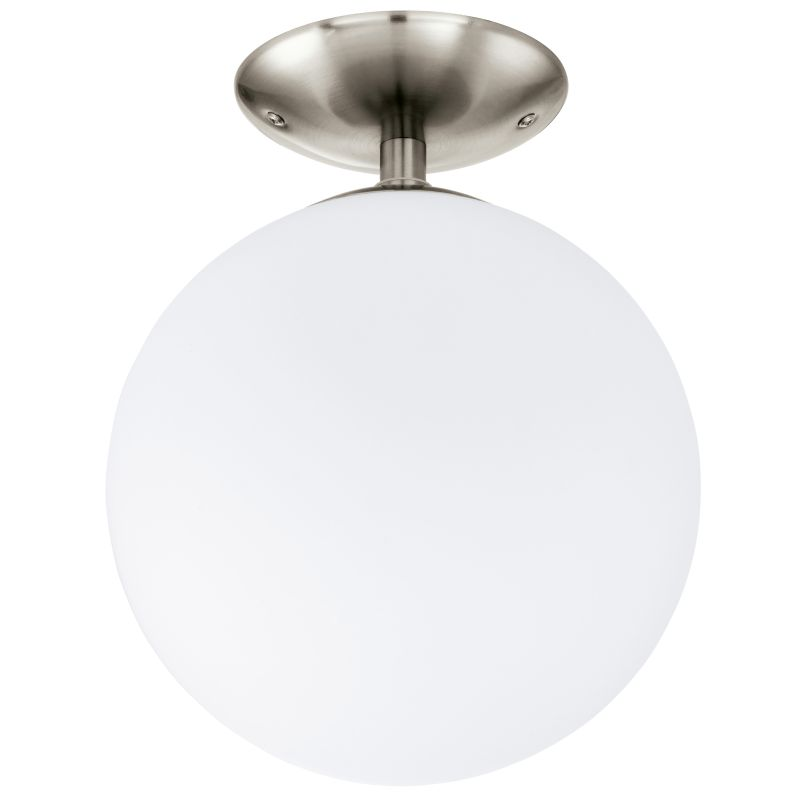 Eglo-91589 - Rondo - White Globe with Satin Nickel Ceiling Lamp - Ø25