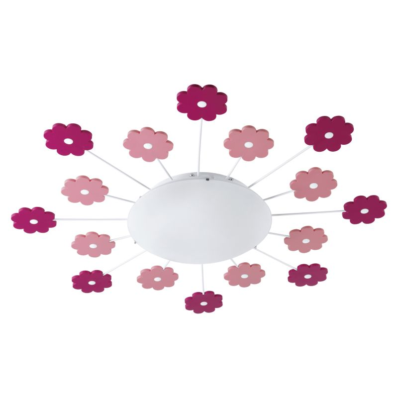 Eglo-92147 - Viki 1 - Kids Wall / Ceiling Light with Decorative Design Pink Flowers