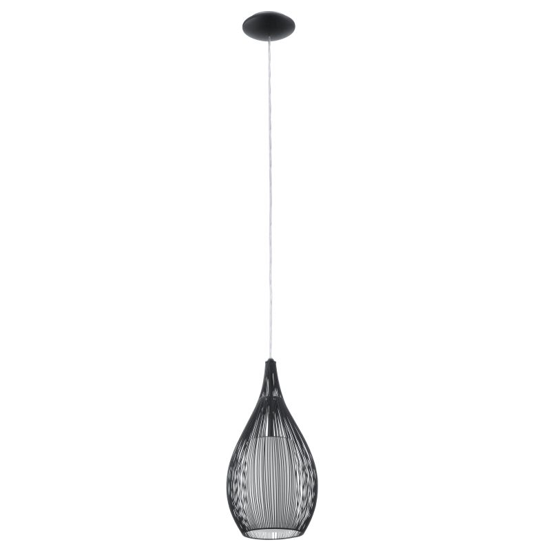 Eglo-92252 - Razoni - Black Metal & White Glass Single Pendant