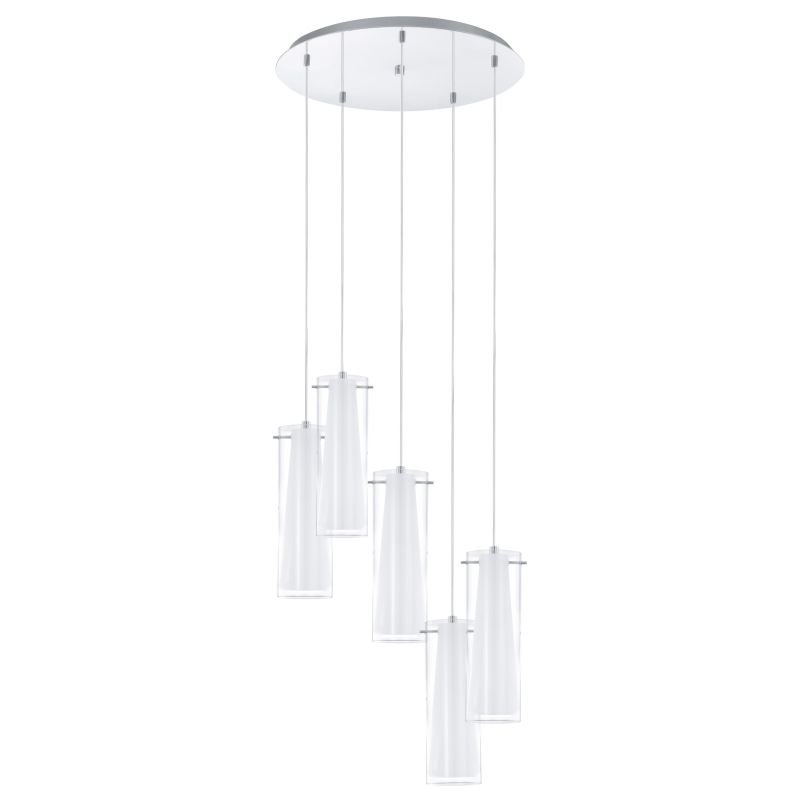 Eglo-93003 - Pinto - Clear & White Glass with Chrome 5 Light Cluster Pendant