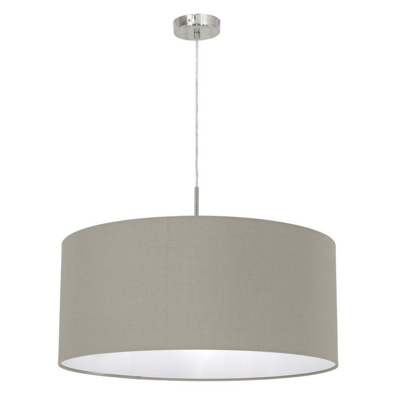 Eglo-31576 - Pasteri - Taupe & White with Nickel Single Pendant