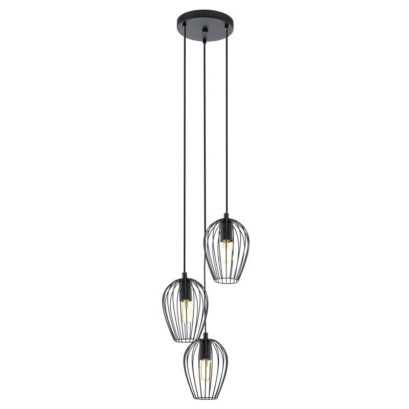 Eglo-49479 - Newtown - Vintage Black Cage 3 Light Cluster Pendant