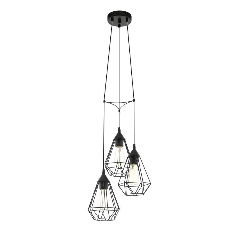 Eglo-94191 - Tarbes - Vintage Black Cage 3 Light Cluster Pendant