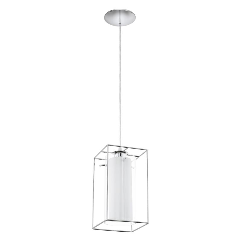 Eglo-94377 - Loncino 1 - Clear & White Glass with Chrome Cage Pendant