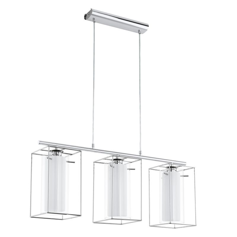 Eglo-94378 - Loncino 1 - Clear & White Glass with Chrome Cage over Island Fitting