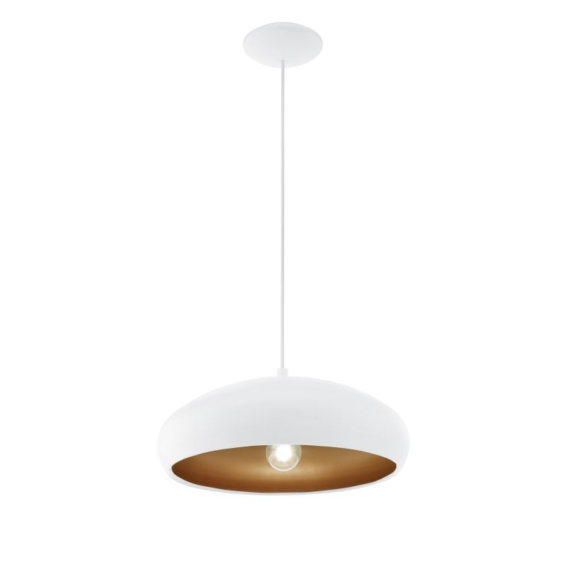 Eglo-94606 - Mogano 1 - White and Copper Single Pendant