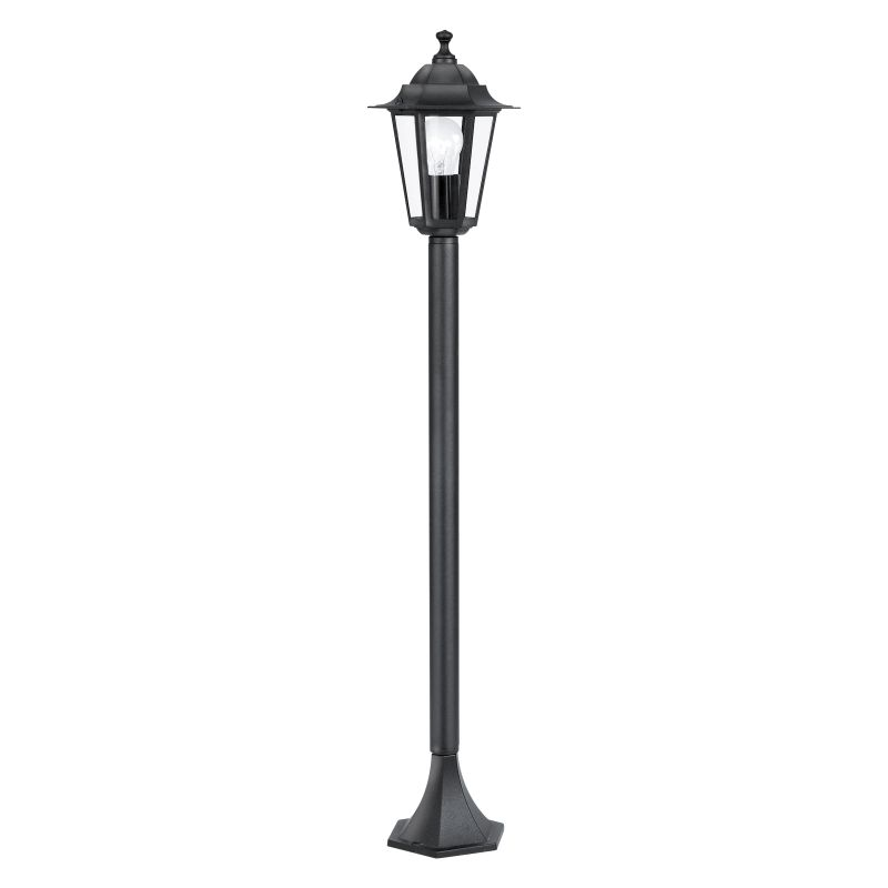 Eglo-22144 - Laterna 4 - Medium Black and Clear Glass Traditional Lantern Post