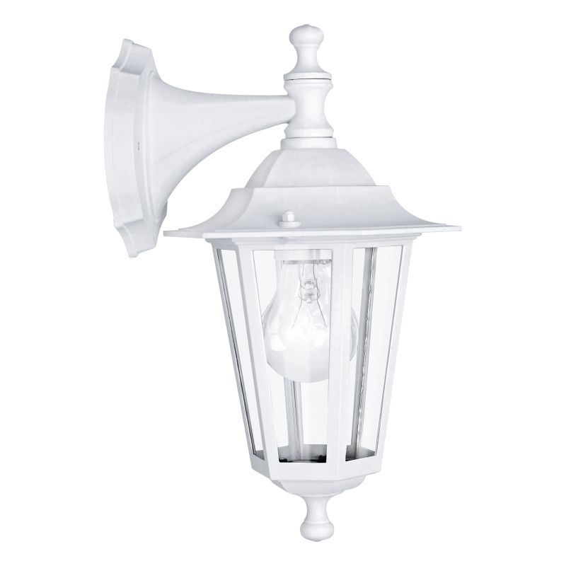 Eglo-22462 - Laterna 5 - White and Clear Glass Traditional Lantern Downlight Wall Lamp