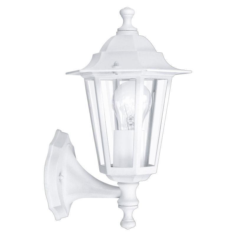 Eglo-22463 - Laterna 5 - White and Clear Glass Traditional Lantern Uplight Wall Lamp