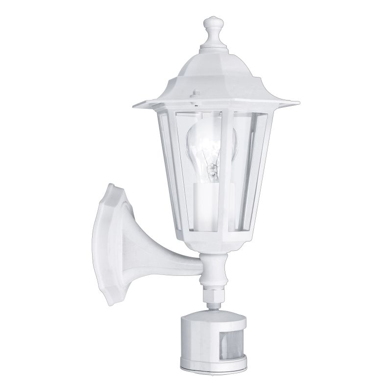 Eglo-22464 - Laterna 5 - White and Clear Glass Traditional Lantern Sensor Wall Lamp