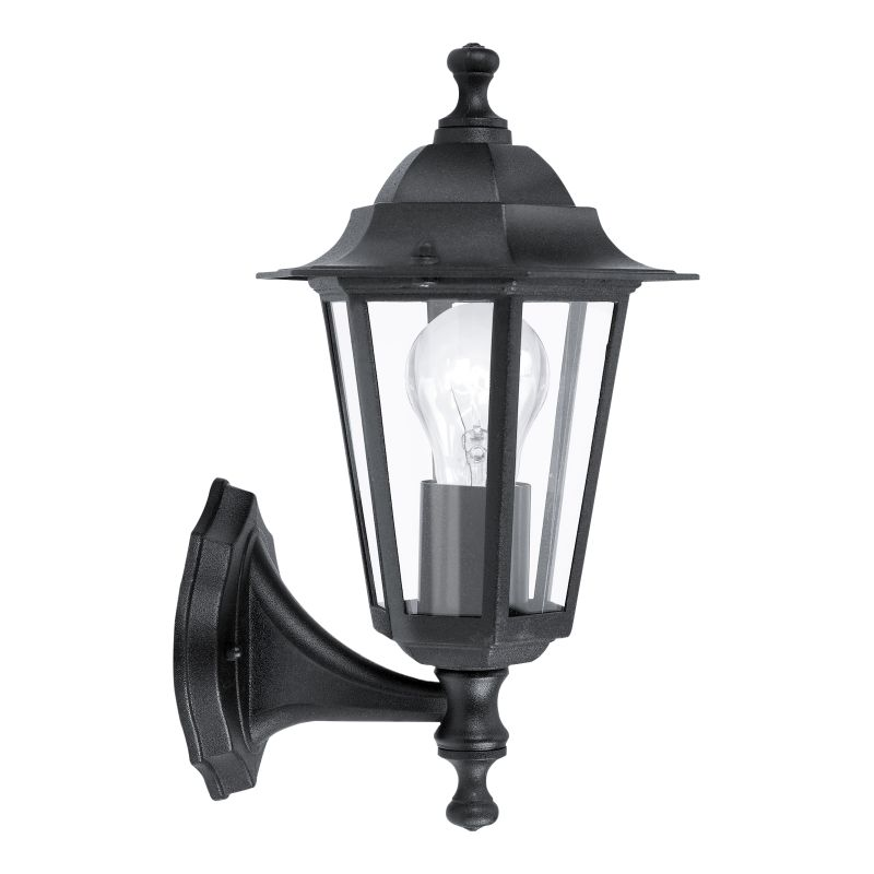 Eglo-22468 - Laterna 4 - Black and Clear Glass Traditional Lantern Uplight Wall Lamp