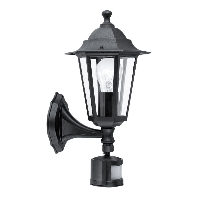 Eglo-22469 - Laterna 4 - Black and Clear Glass Traditional Lantern Sensor Wall Lamp