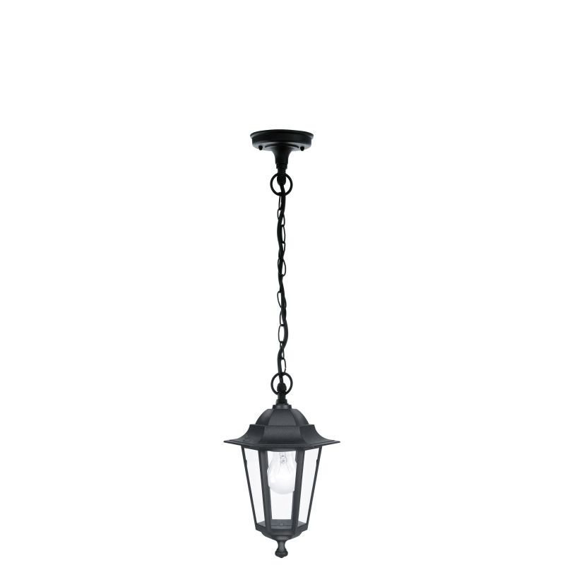 Eglo-22471 - Laterna 4 - Black and Clear Glass Traditional Lantern Pendant