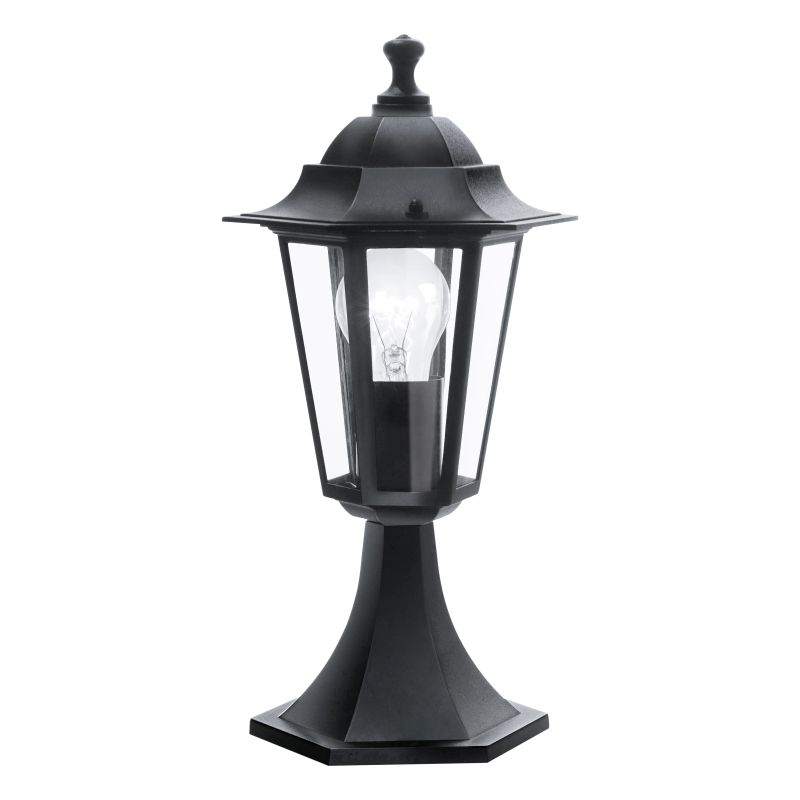 Eglo-22472 - Laterna 4 - Small Black and Clear Glass Traditional Lantern Post