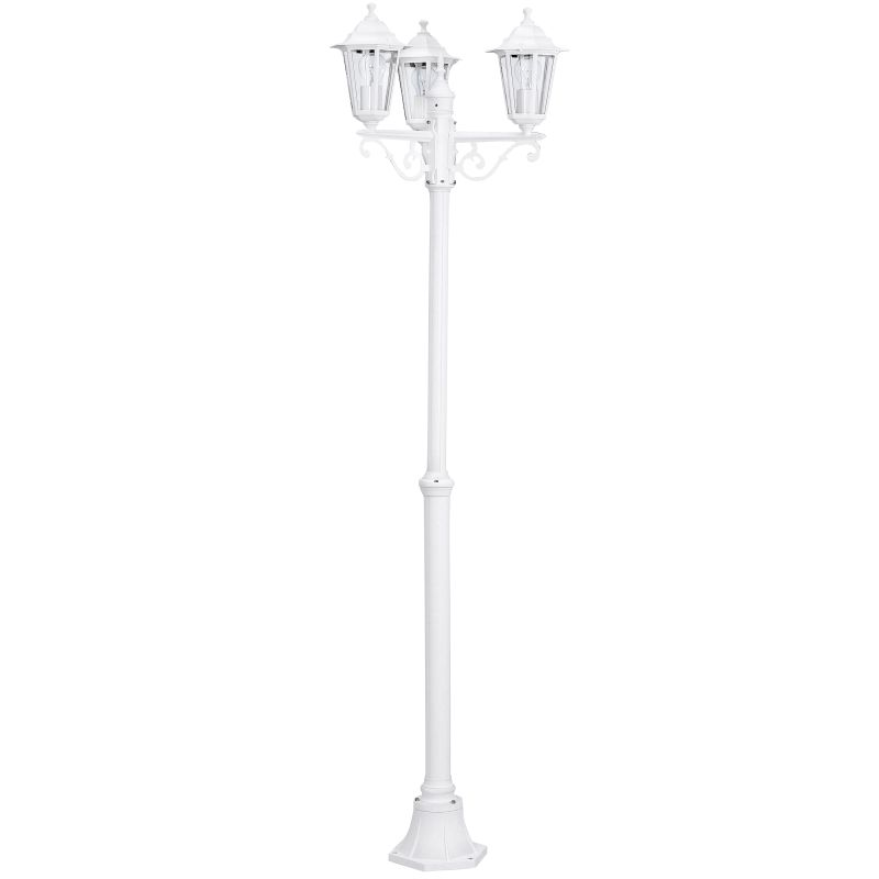 Eglo-22996 - Laterna 5 - White and Clear Glass 3 Light Traditional Lantern Post