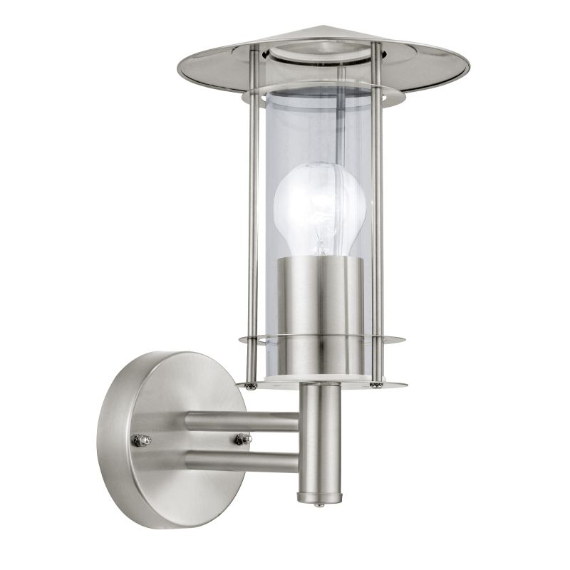 Eglo-30184 - Lisio - Modern Clear Glass with Stainless Steel Lantern Wall Lamp