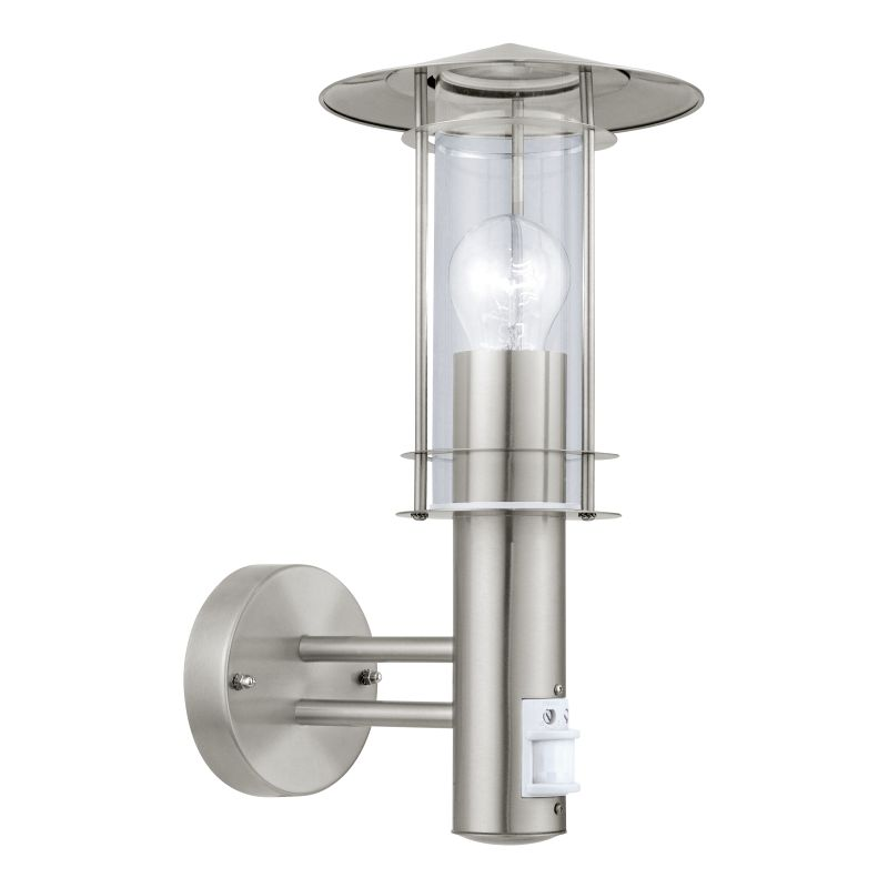 Eglo-30185 - Lisio - Modern Clear Glass with Stainless Steel Lantern Sensor Wall Lamp