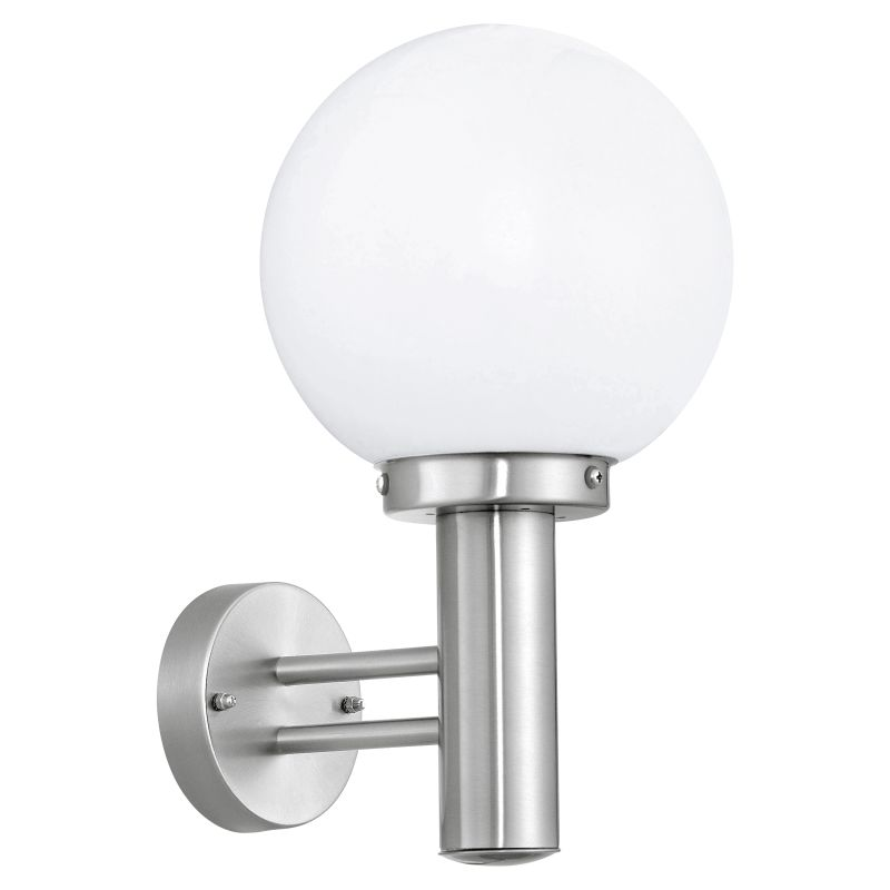 Eglo-30205 - Nisia - Stainless Steel with White Globe Wall Lamp