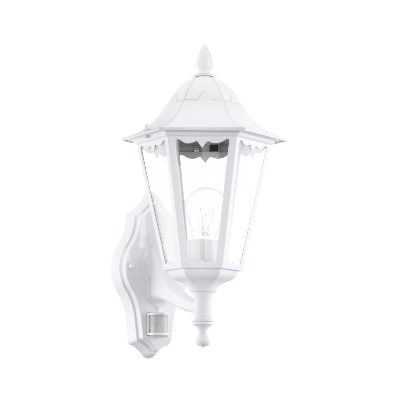 Eglo-93447 - Navedo - Outdoor White with Clear Glass Sensor Wall Lamp
