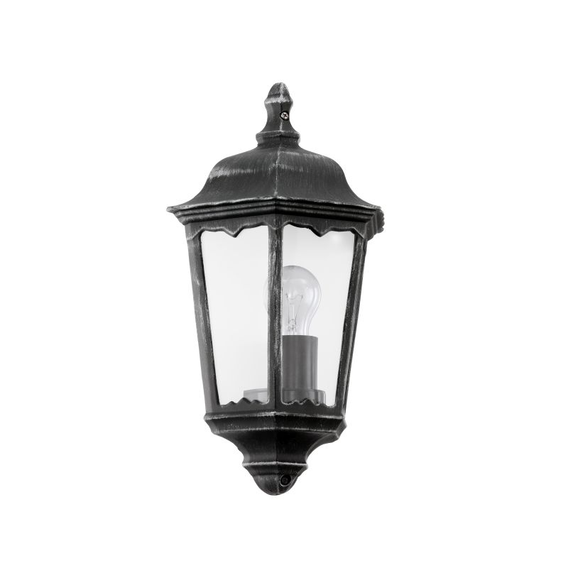 Eglo-93459 - Navedo - Outdoor Black with Clear Glass Half Wall Lamp