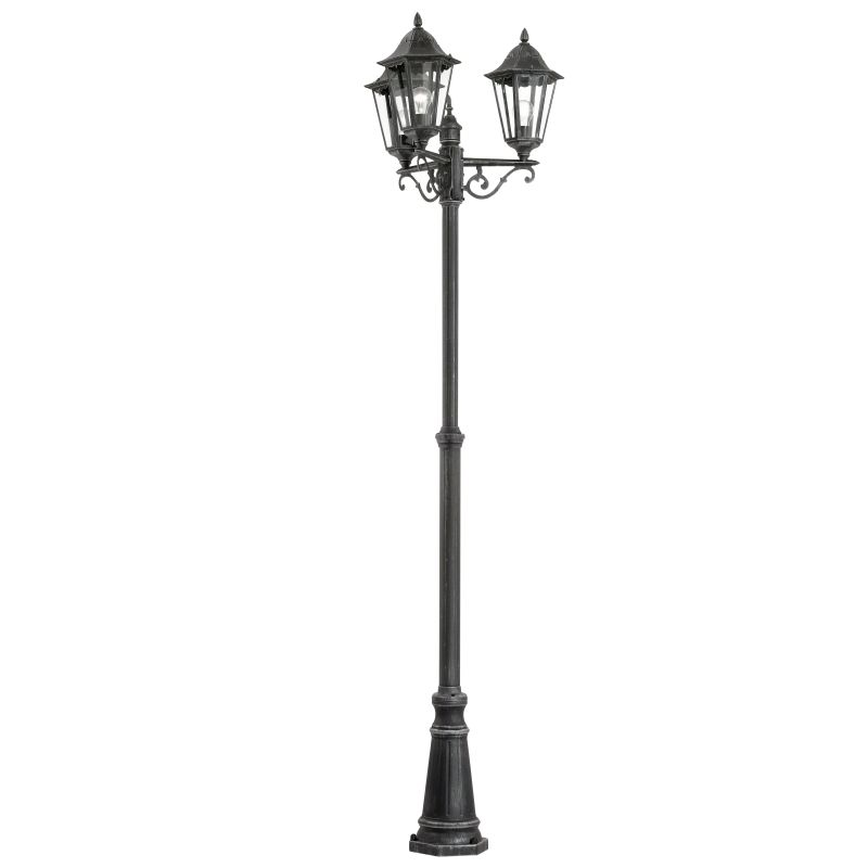 Eglo-93465 - Navedo - Outdoor Black with Clear Glass 3 Light Post