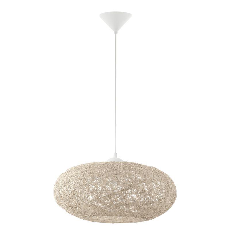 Eglo-93374 - Campilo - Beige Fabric Twisted Single Pendant