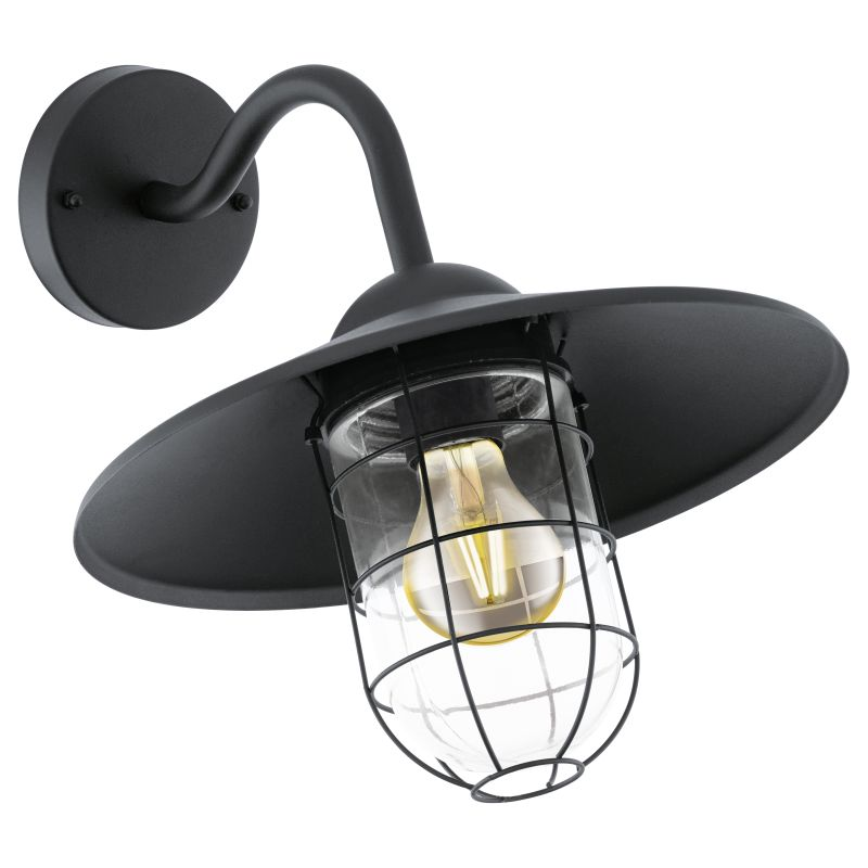 Eglo-94792 - Melgoa - Black Galvanised Steel with Clear Glass Wall Lamp