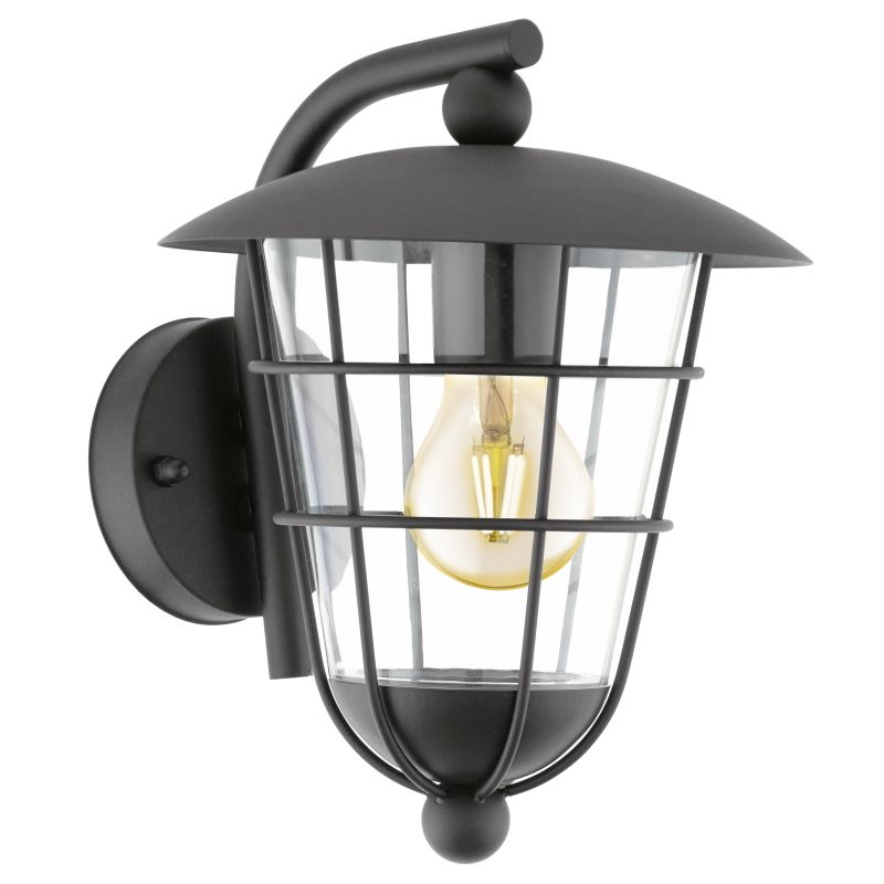 Eglo-94841 - Pulfero - Outdoor Black & Clear Downlight Wall Lamp